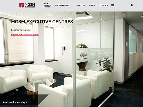 screen grab of an conference centre website built by polished pixels