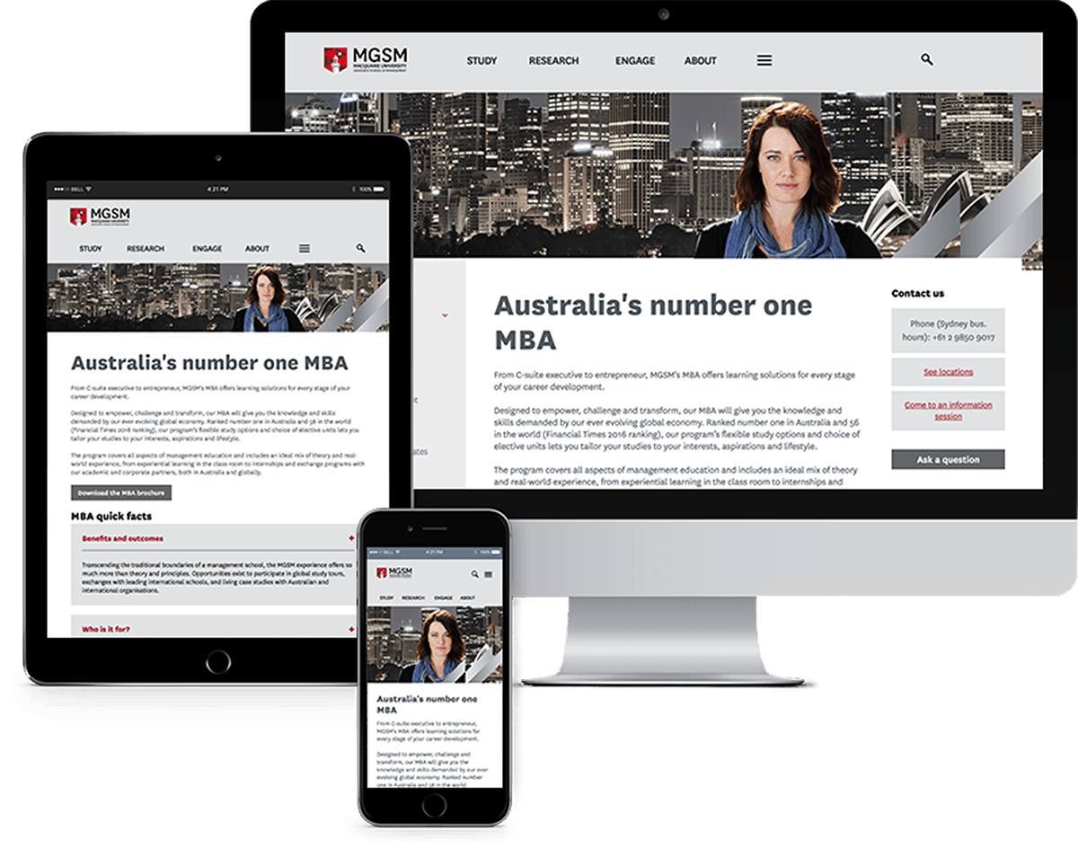 Three screens of a website built by Polished Pixels Sydney