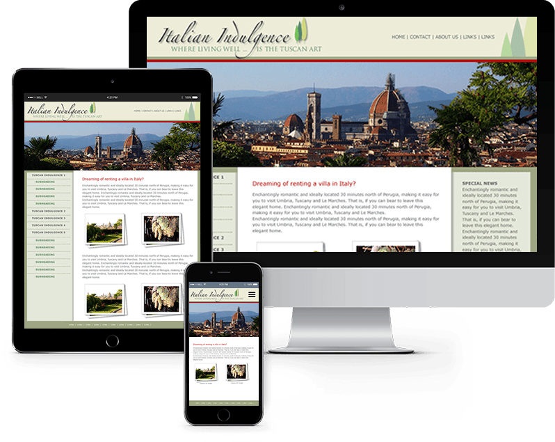 Desktop, tablet, and mobile views of travel industry website
