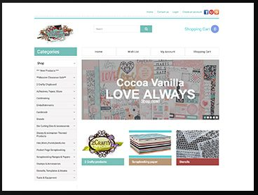 screen grab of a Scrapbooking Supplies website built by polished pixels
