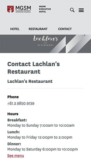 Restaurant's contact information with its logo