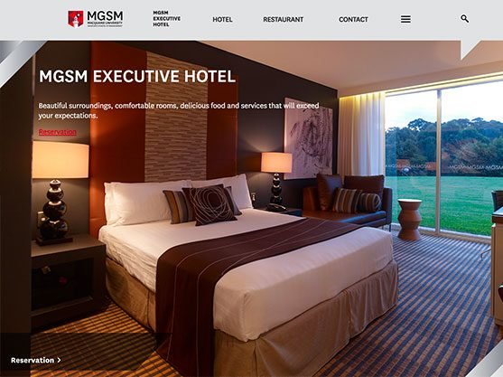 screen grab of a hotel and hospitality website built by polished pixels