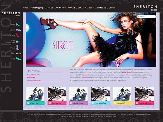 screen grab of Sheriton Shoes website built by polished pixels