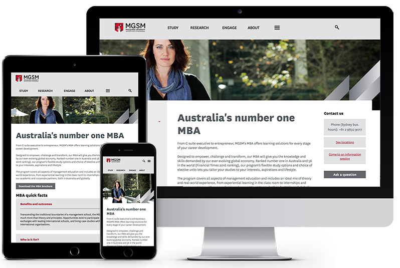 Business school website rebuild