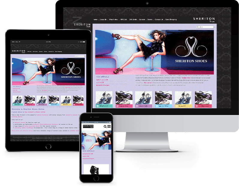 mobile and tablet views of women shoes website