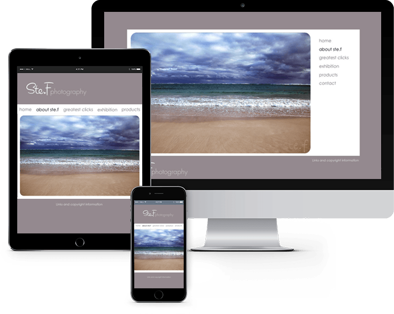 Photography website homepage in three devices views