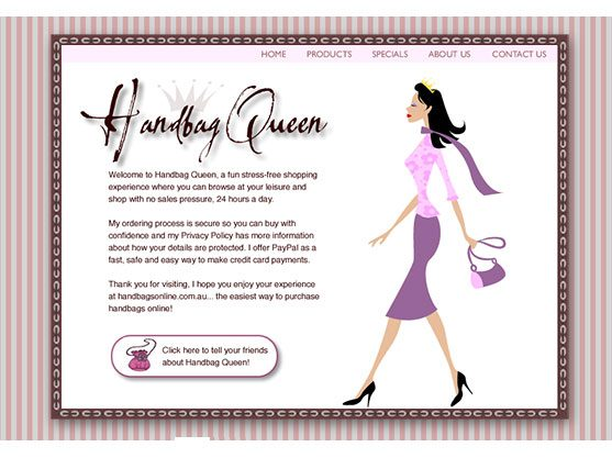Handbag website on tablet