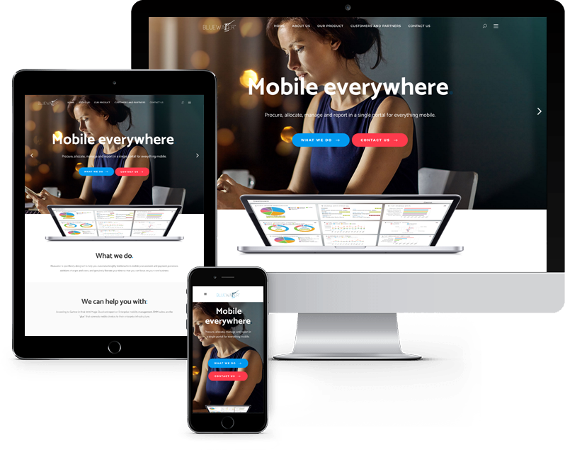 Mobile and tablet view of telecommunications website design