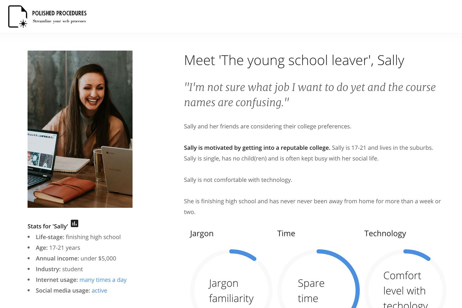 Persona for 'The young school leaver', Sally